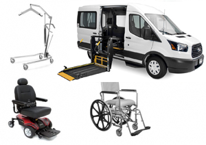 Van- Power Wheelchair, Hoyer Lift, Rehab Shower Ch